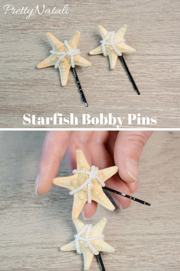 This cute hair pins is made with a real mini Starfish and white seed beads. The perfect idea to your beach wedding or any beach themed occasion. Mini Starfish Hair Bobby Pins, Starfish Hair Accessory, Starfish Hair Clip, Starfish Headpiece, Mermaid hair, Beach Wedding, Hair Barrette,  bridesmaid hair pins #mermaidhairpins #starfishheadpiece #beachwedding #mermaidheadpiece #hairpins
