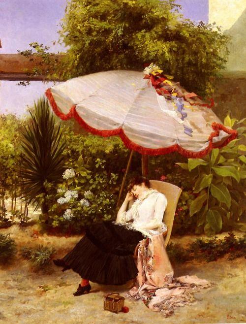 La siesta by Chilean artist Pedro Lira. Late 1880s