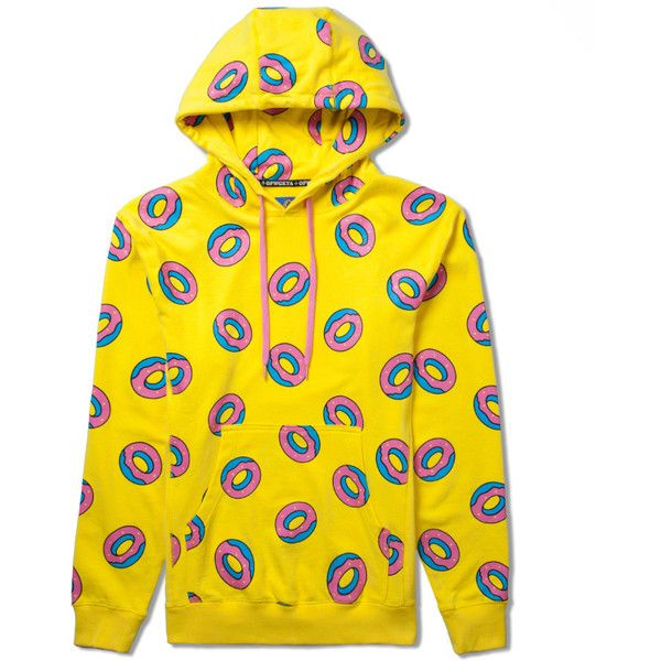 Odd Future Banana Yellow All Over Donut Hoodie ($80) ❤ liked on Polyvore featuring tops, hoodies, shirts, sweatshirt, yellow hoodie, hooded sweatshirt, sweat shirts, hoodie sweatshirts and yellow shirt
