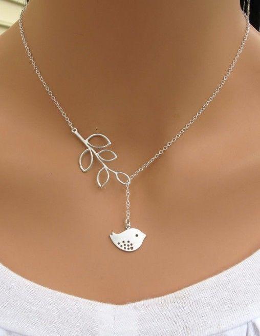 Fashion Elegant Silver Chain Bird/Pearl Leaf Pendant Necklace Friend Gifts  2016 #UnbrandedGeneric