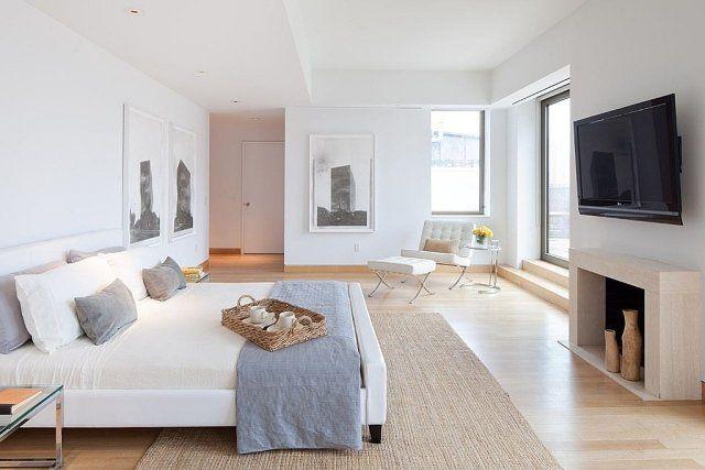 chambre adulte blanche avec tapis en sisal beige
