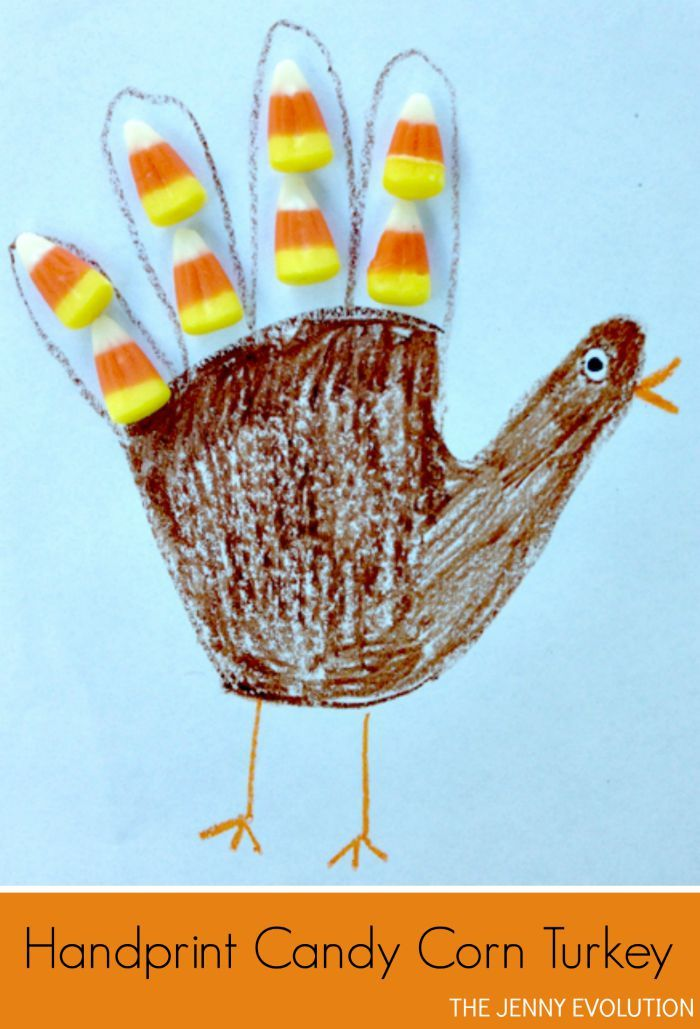 Need to distract the kids while you prepare Thanksgiving dinner? Try this Handprint Candy Corn Turkey! on The Jenny Evolution
