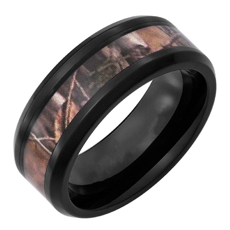 Queenwish New Fahion Mens Jewelry 8mm Black Tungsten Camo Camouflage Wedding Rings Mens Jewelry