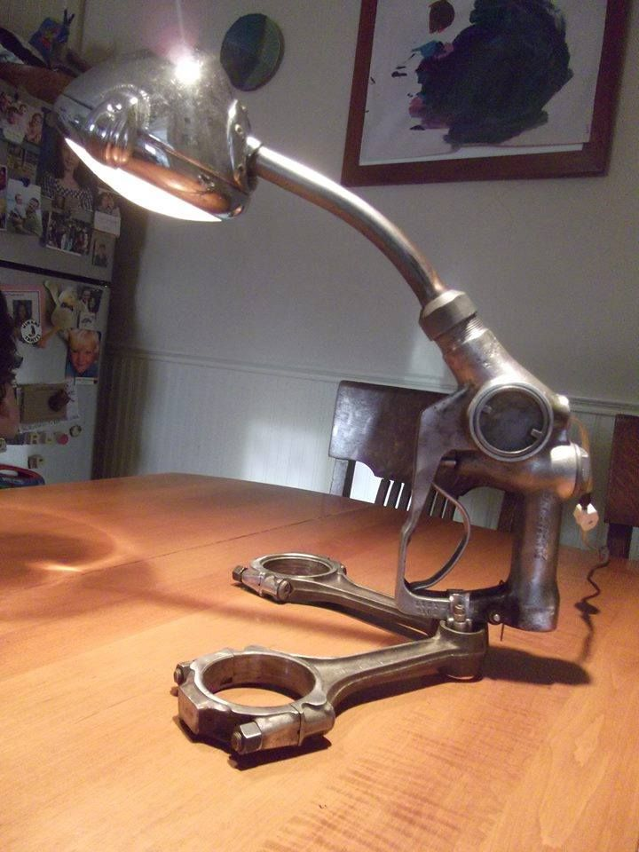 Desk Lamp Made From An Automotive Spotlight A Vintage Gas Pump Handle And Two Pistons Really
