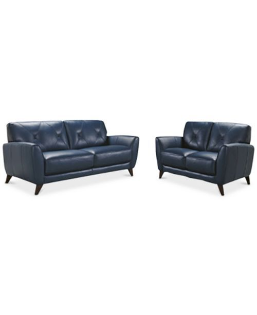 Home Decorators Collection Gordon Blue Leather Loveseat 0849500310 Leather Loveseat Blue Leather Sofa Love Seat