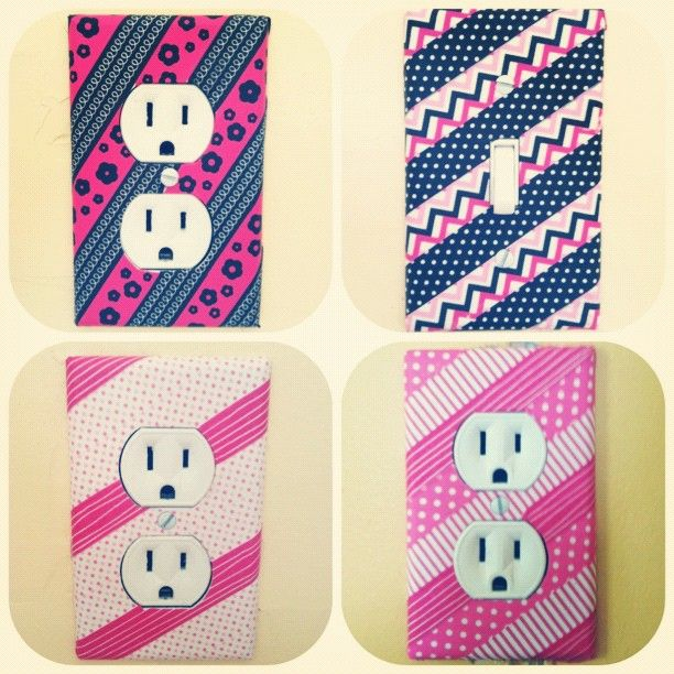 Cover light switches in washi tape! I like this idea. Instead of trying to find cool switch covers, make them yourself
