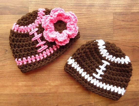 Crocheted Baby Girl/Boy Football Hats, Twins Football Hat Set, Chocolate Brown with White & Pink Laces, Newborn to 24 Months - MADE TO ORDER