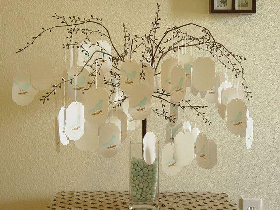 Cute Idea ( DIY ) - Brown Wedding wish tree 50 bird themed wish tree tags by CraftZany, $55.00