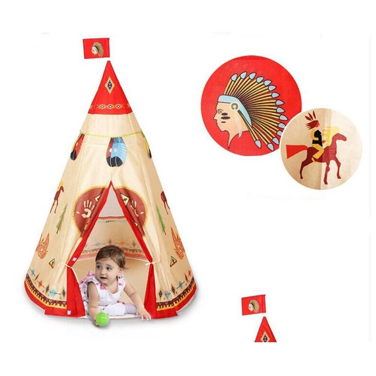 Steegic Kids Play Tent Indian Story Teepee for Children's Family ,and Sleepover Parties. Indian paint and Teepee design is adorable, Can be used as a teepee, a playhouse, a fort, a hiding spot, a quiet place to sit and read, a storage shed for toys. Material : Tent (Non-woven fabric), Poles (plastic). Open Size:105cmx105cmx160cm, Fold Up Size :55cmx9cmx18cm. Lightweight and portable ,It can be installed in the outdoor & indoor. Flexible PVC stent tube multiple protection,It can keep baby...
