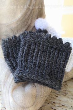 LOOM KNIT PICOT EDGED BOOT TOPPERS/CUFFS