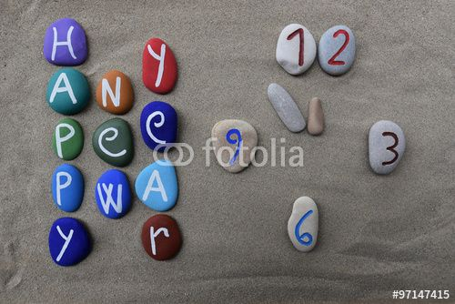 """Download the royalty-free photo """"Happy New Year, stones composition with the last year minutes concept"""" created by Ciaobucarest at the lowest price on Fotolia.com. Browse our cheap image bank online to find the perfect stock photo for your marketing projects!"""