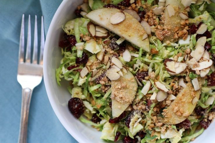 ... , Sprouts Salad, Shaving Brussels, Pears, Vegan Parmesan, Cranberries