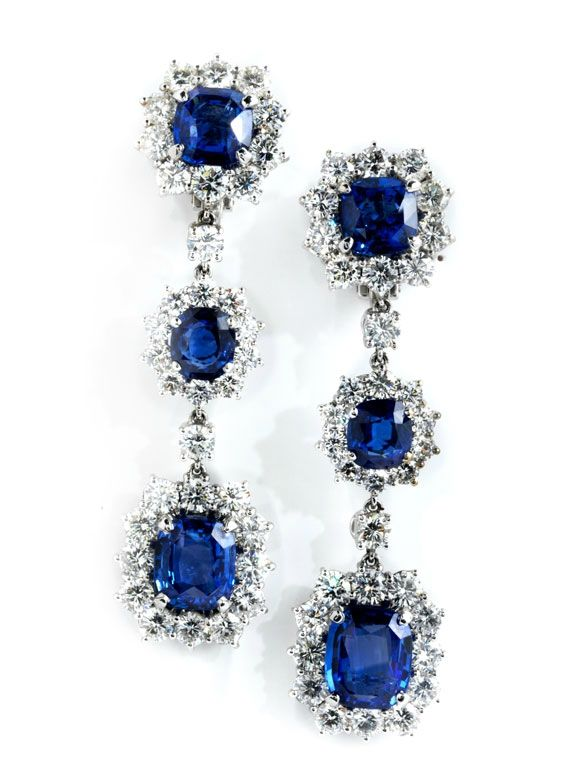 Ceylon sapphire and diamond pendant earrings