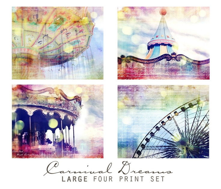 This would be really cute for a little girls room. :)  Carnival Dreams, Set of Four 8x8 Inch Prints - Wall Art Grouping, Nursery Decor, Spring Decorating. $68.00, via Etsy.