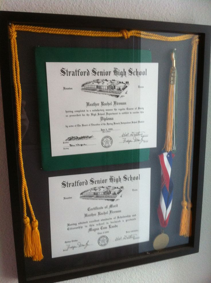 It also seems a shame to keep your high school graduation paraphernalia hidden away on a shelf. This shadow box was a fun way to show off all that regalia.