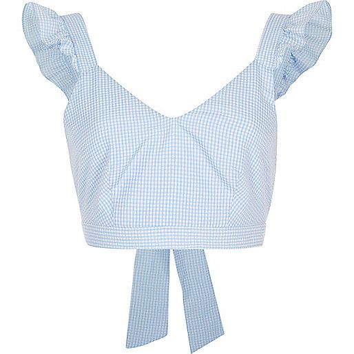 Blue gingham frill shoulder crop top - holiday shop - sale - women