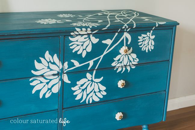 Hand Painted Dresser Miss Mustard Seed Milk Paint Flow Blue | Colour Saturated Life