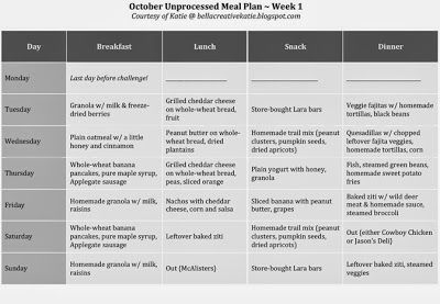 October Unprocessed: Meal Plan 1. #bellacreative #mealplans #unprocessed