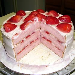 "Strawberry cake from scratch. Nice to find a recipe that doesnt say ""one box of cake mix"" :P"