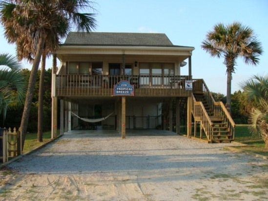 Oak Island North Carolina Vacation Rentals - Tropical Breeze Oceanview Beach House-Dog Friendly