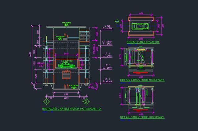 Gambar Kerja Denah Detail Dan Potongan Car Lift File Dwg Di 2020