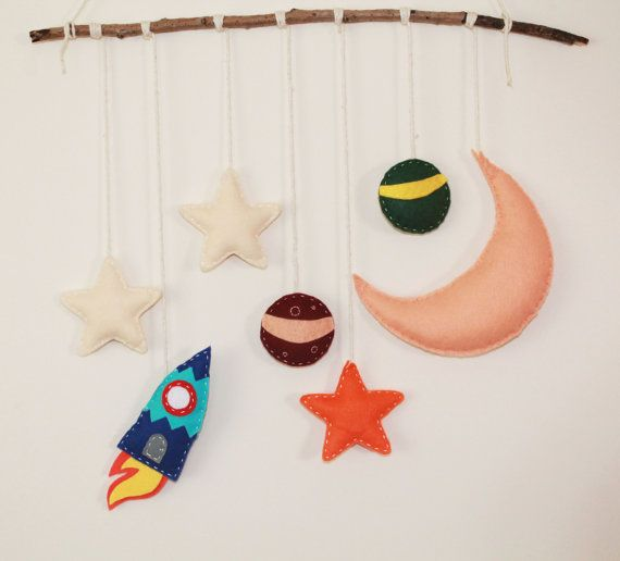 Cute space mobile. Spaceship wall hanging. Stars by TinyHappyBee