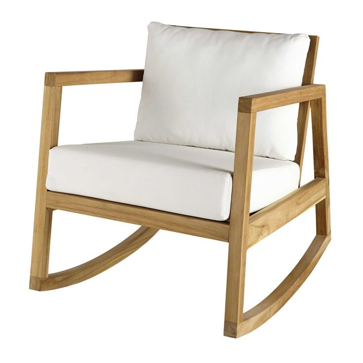 Teak and white fabric rocking armchair | Maisons du Monde