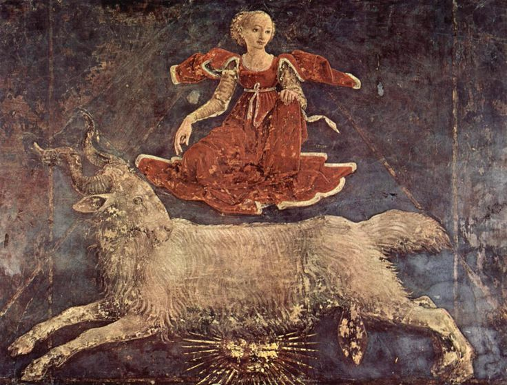 "Allegory of March: Triumph of Minerva fresco by Francesco del Cossa, 1436. Palazzo Schifanoia, Ferrara, Italy. ""In the second face ascendeth a form of a woman, outwardly cloathed with a red garment, and under it a white, spreading abroad over her feet, and this image causeth nobleness, height of a Kingdom, and greatness of dominion."" ~Henry Cornelius Agrippa"