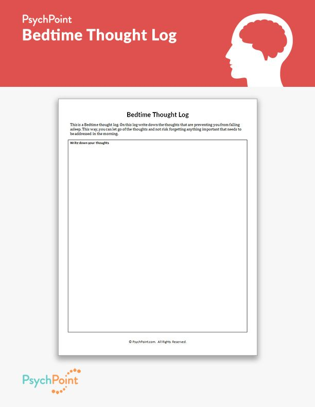 Bedtime Thought Log Therapy Worksheets Cbt Worksheets Thoughts