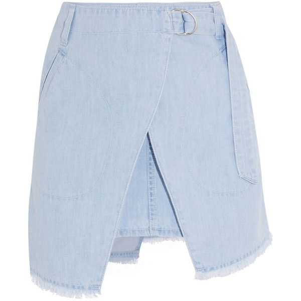 Steve J & Yoni P Denim wrap-effect mini skirt ($280) ❤ liked on Polyvore featuring skirts, mini skirts, blue, short mini skirts, mini skirt, wrap around skirt, blue skirt and short skirts