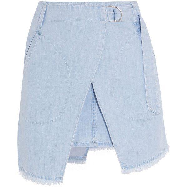 Steve J & Yoni P Denim wrap-effect mini skirt ($280) ❤ liked on Polyvore featuring skirts, mini skirts, blue, short mini skirts, mini skirt, wrap around skirt, blue skirt and short skirts
