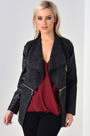 Jenny PVC Sleeve Zip Jacket in Grey