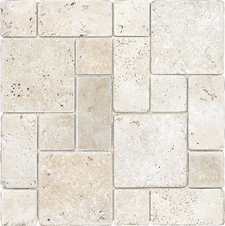 Tumbled Travertine Ivory Roman Pattern Mosaic