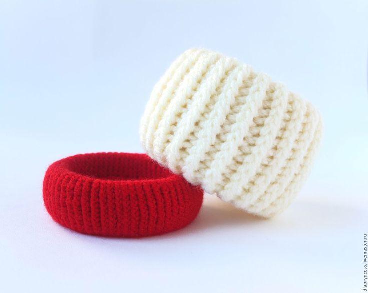 """Купить Сет браслетов """"Ваниль и вишня"""" вязаные браслеты - текстильный браслет, фактурный браслет"""