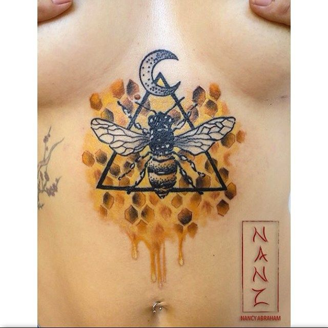 5dc2acc94e683 For back of my neck | Tattoos | Honeycomb tattoo, Bee tattoo, Tattoos