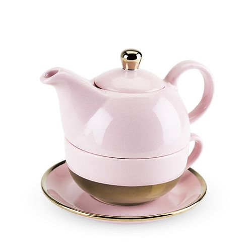Tea for one, anyone? ?This lovely set is a double-duty wonder: teapot on top, cup and saucer on the bottom! ?Steep your tea, stack the set, add a cookie to the saucer and take it anywhere around the house (within reason)!<BR>Set includes teapot, tea cup,