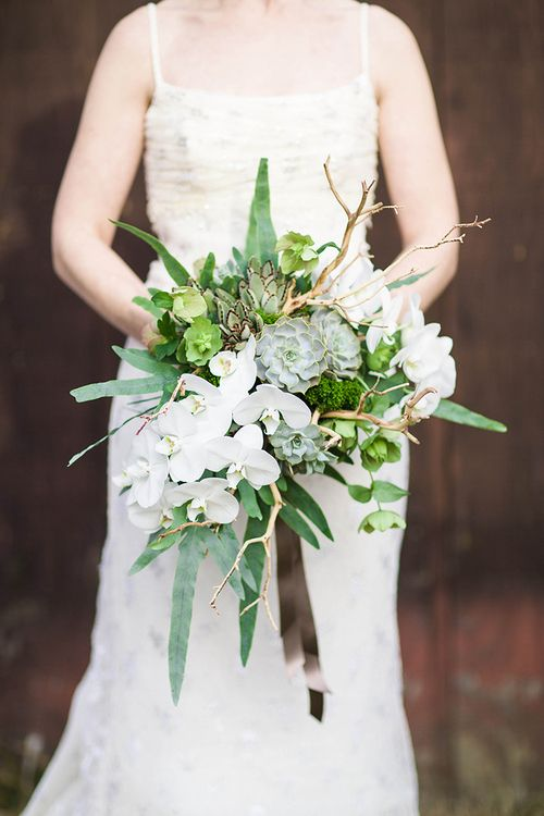 Cascading succulent bouquet with sandblasted manzanita branches, white phalaenopsis orchids, green hellebores, trachelium, ferns, and generous satin ribbon.