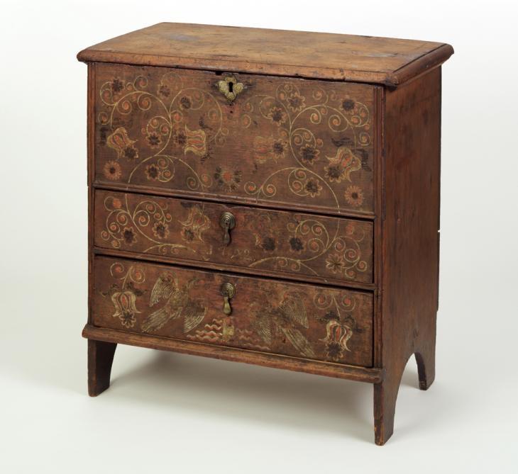 "Chest-over-drawers. Made by Robert Crosman (1707–99), Taunton, Massachusetts; dated 1742. White pine, red oak, chestnut. Height: 24 3/8"" (62cm). 1954.510"