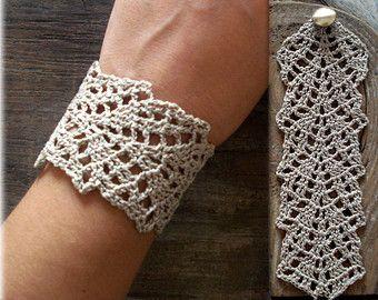 Freeform Crochet Cuff-Crochet Cuff BraceletBeaded by SESIMTAKI