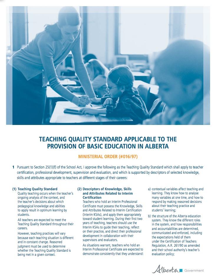 Alberta Teacher Qualification Standards Teacher