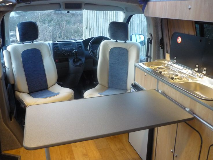 VW T5 campervan conversion interior layout with swivel seats