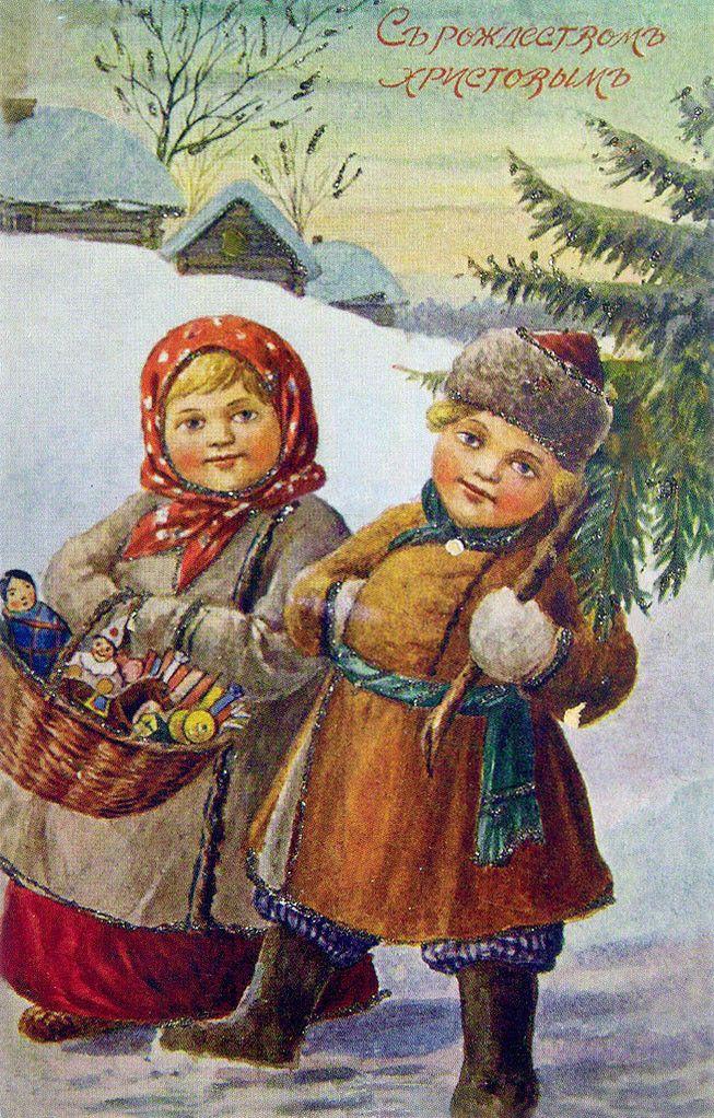 Рождество открытки с детьми