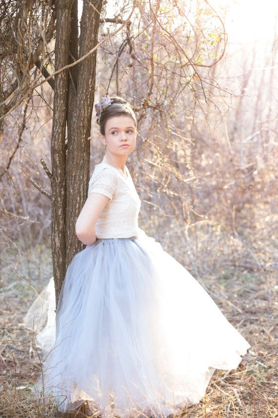 dusty blue tulle skirt. Silver blue, light blue tulle tutu skirt for flower girls, photo props, weddings. www.princessdoodlebeans.etsy.com