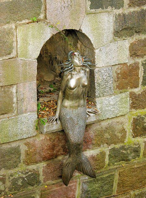Mermaid under bridge, Vilnius, Lithuania