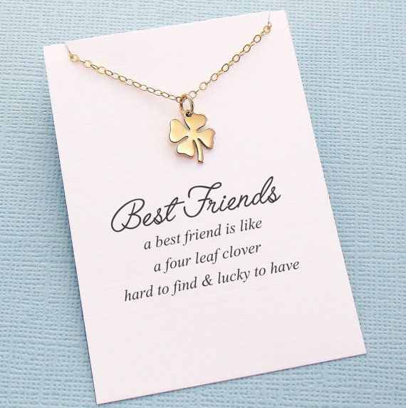 Best Friend Gift | Four Leaf Clover Necklace | Friendship Necklace | Bridesmaid Gift | Clover Charm Necklace | Silver or Gold | F06