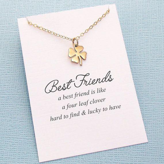 Best Friend Gift | Four Leaf Clover Necklace | Friendship Necklace | Bridesmaid…