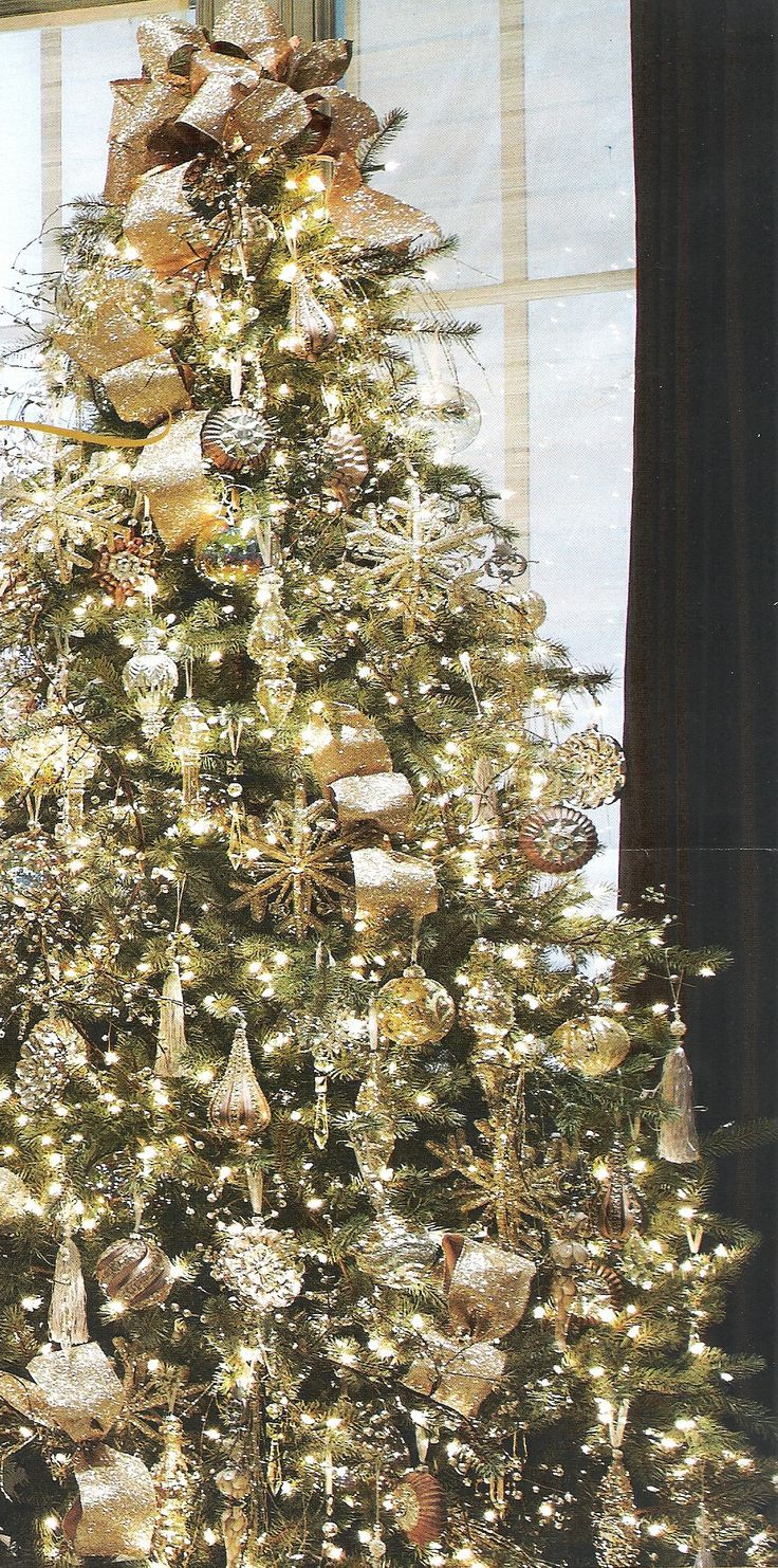 Christmas Trees By Robert Frost Part - 45: Christmas Tree Decorated With Gold And White Lights