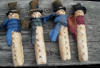 """DIY Free Clothespin Snowman Ornaments Pattern ~ Scroll all the way to the bottom of the page to the """"Download Our Free Patterns"""" box with all the PDF downloads in it. ~ Courtesy of The Olde Country Cupboard"""