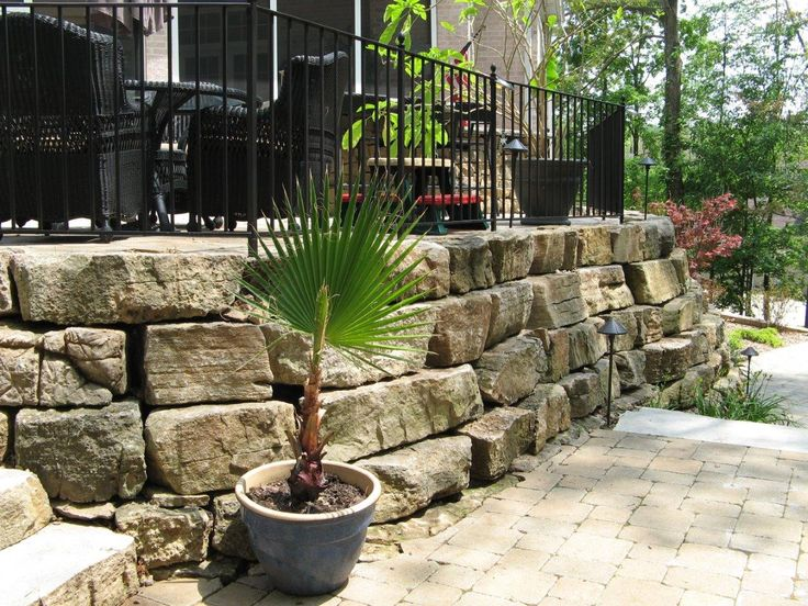 Image result for brown county ledgestone boulder retaining wall