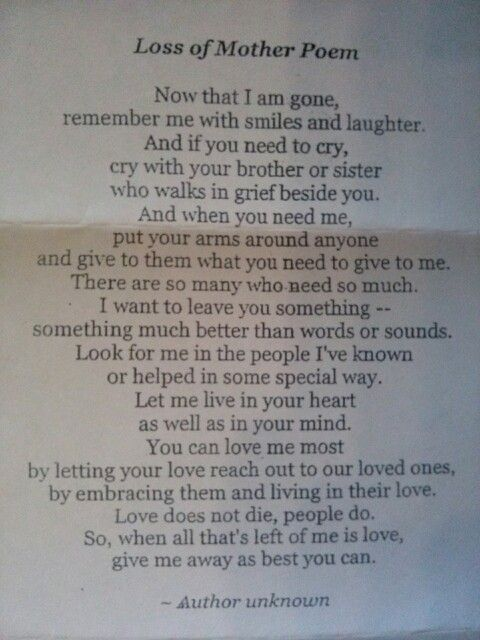 A poem someone sent me when my mom passed away.......rings so true.....